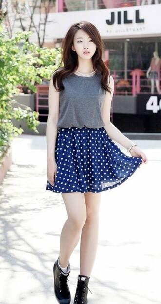shirt korean fashion korean style cute blue skirt polka dots