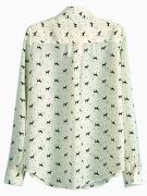 Dog Print Oversize Shift Shirt in Beige | Choies