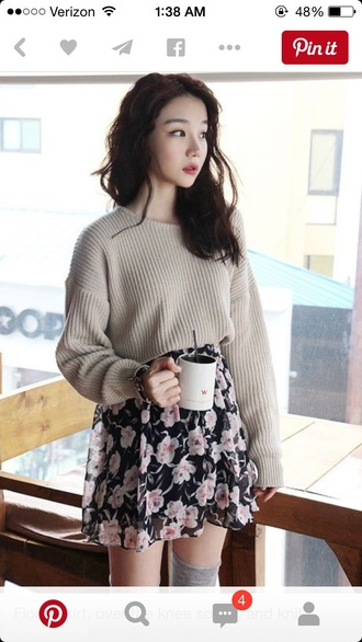 sweater skirt skater skirt floral skirt oversized sweater baggy sweaters style fashion outfit dress floral skater skirt