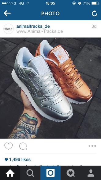 shoes metallic bronze silver trainers reebok sneakers sportswear sports shoes tennis shoes gold silver shoes
