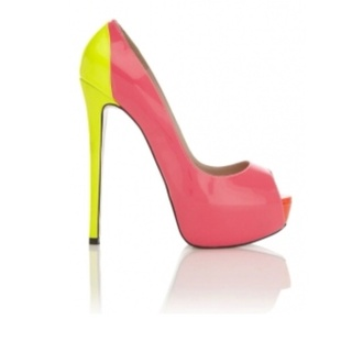 shoes yellow pink pumps peep toe pumps