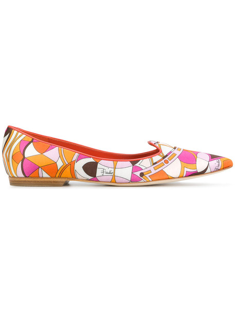 Emilio Pucci women slippers leather silk shoes