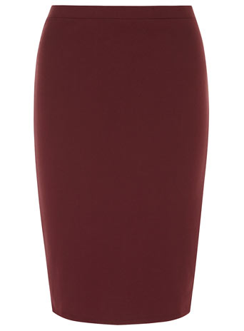 Petite wine ponte pencil skirt - Petite Skirts  - Petite  - Dorothy Perkins