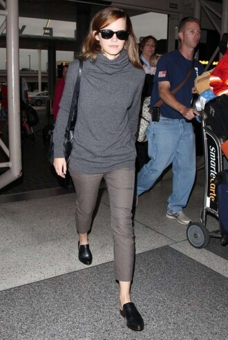 emma watson pants sunglasses long sleeves turtleneck shoes bag sweater