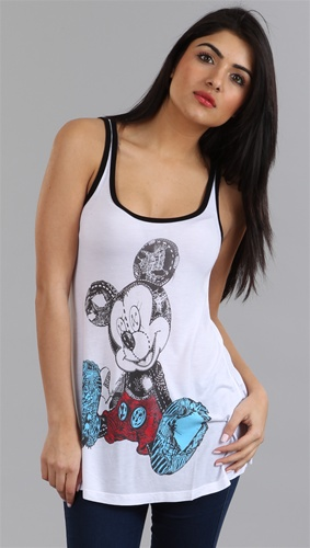 Sadie mickey mouse basic swing tank in white w/ black by lauren moshi @ apparel addiction