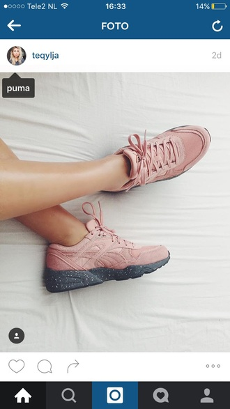shoes puma puma sneakers puma suede pink sneakers grey fashion sports shoes low top sneakers