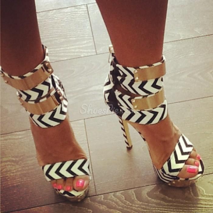 Ravishing Contrast Colour PU Ankle Strap Dress Sandals