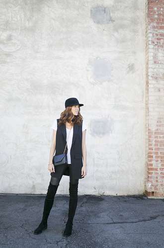 could i have that blogger blazer cap thigh high boots white t-shirt boyish jacket pants shoes t-shirt bag jewels hat