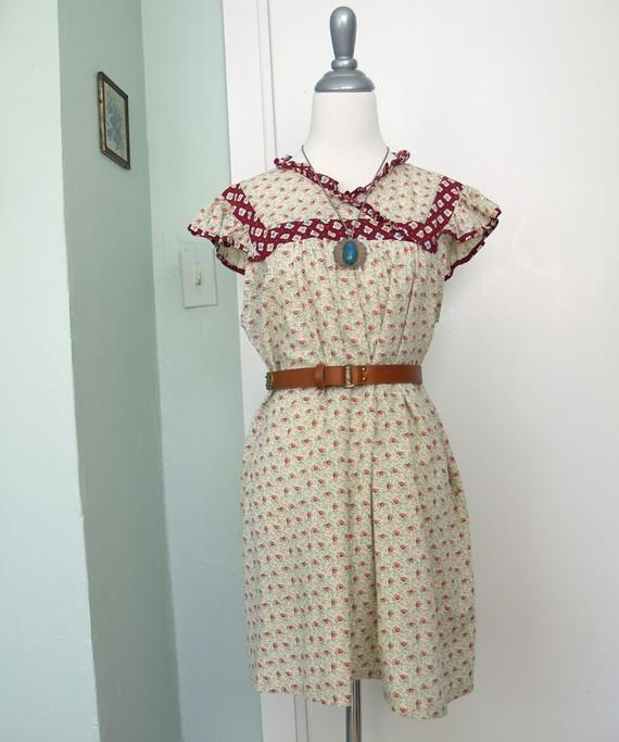 Vintage calico mini dress s/m by mrbootsvintage on etsy