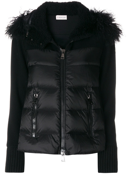 moncler jacket fur women black wool