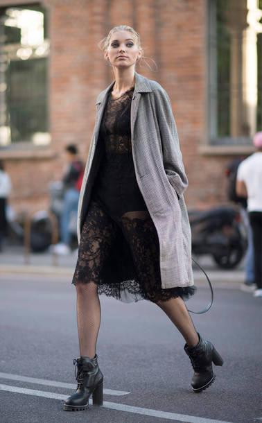 8996a1ec21 dress black dress lace dress elsa hosk midi dress milan fashion week 2017  streetstyle model off