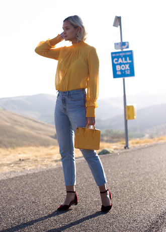 late afternoon blogger top jeans shoes jewels yellow top handbag yellow bag mid heel pumps fall outfits