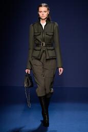 jacket,pants,fall outfits,olive green,paris fashion week 2016,fashion week 2016,runway,model,Andrew GN