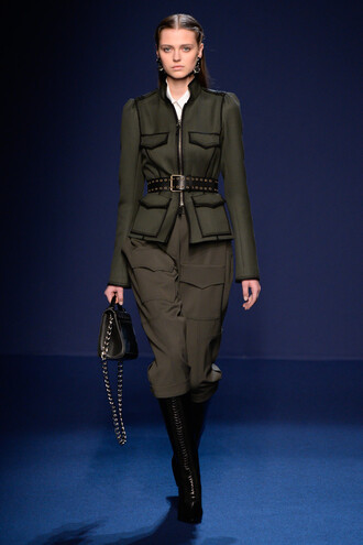 jacket pants fall outfits olive green paris fashion week 2016 fashion week 2016 runway model andrew gn