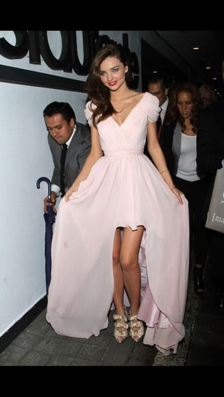 dress pale pink miranda kerr long dress v neck dress
