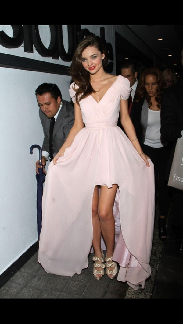 dress light pink miranda kerr long dress v neck dress