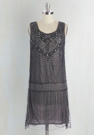 dress grey smoke nye new year's eve 2015 2016 party sequins beaded the great gatsby 20s flapper