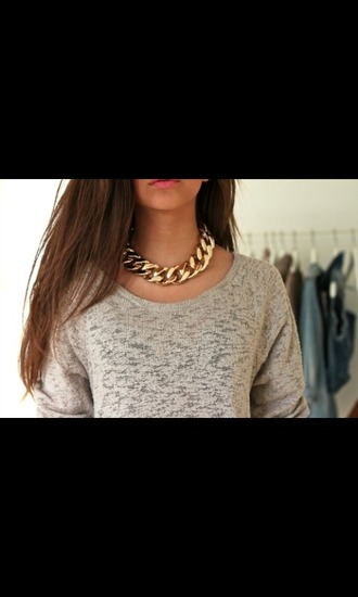jewels necklace chain sweater