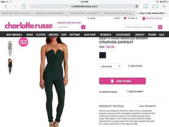 black skinny jumpsuit deep v