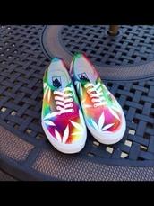 shoes,rainbow,tie dye vans,marijuana,tie dye,vans,weed,low top sneakers,leaves,colorful,cool,stoner,weed flower,hemp,leaf print,weed shoes,pot,printed vans,tie dye weed vans