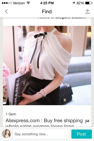 blouse elegant top bow cute top