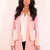 Structured Collarless Wool Coat with Fur Pockets and Cuffs in Dusky Pink