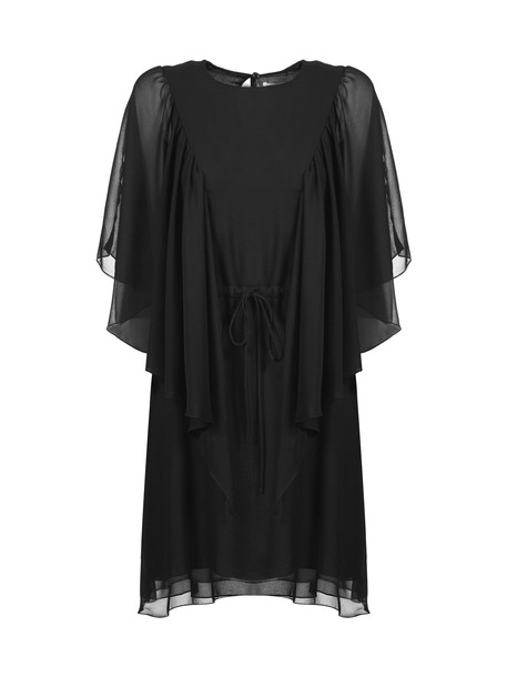 See by Chloé See By Chloé Sheer Sleeve Mini Dress in nero