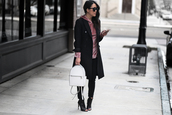 theversastyle,blogger,top,sweater,bag,shoes,coat,jeans,black coat,backpack,peep toe boots,ankle boots,hoodie,pink hoodie,winter outfits