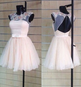 dress prom prom dress floral transparent dress mini mini dress flowers short short dress white white dress beige backless open back dresses dressofgirl bridesmaid crystal fashion style stylish cute cute dress wow vogue sexy sexy dress pink short prom dress