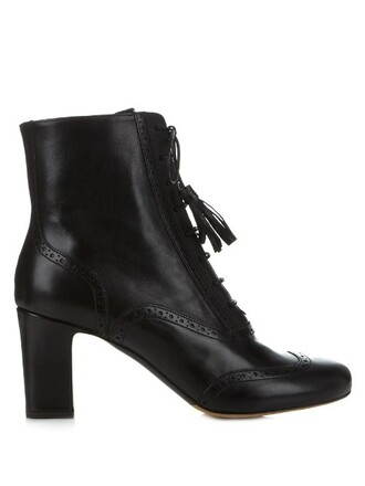 heel leather ankle boots boots ankle boots leather black shoes