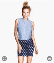 skirt,twill skirt,blue skirt,denim,print