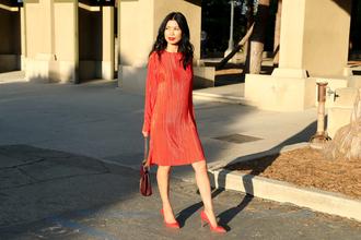 mamainheels blogger dress shoes bag fall outfits red dress pumps red heels high heel pumps