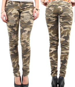 Women's skinny destroyed army camo pants