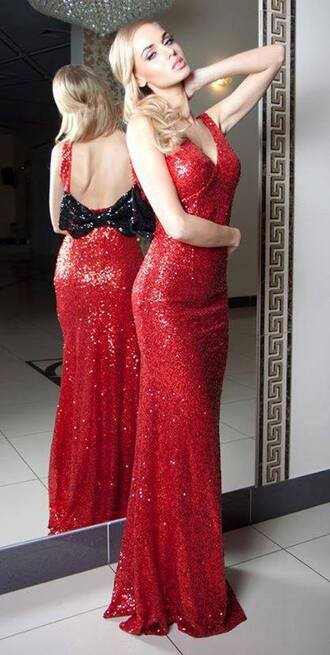 dress red dress sequin dress maxi dress long dress prom dress evening dress party dress sexy dress open back backless dress style vintage dress vintage sparkle sparkly dress bow dress girly classy glamour gown ball long prom dress prom cute pretty red hot 1950 vintage women