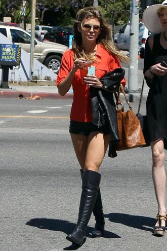 shorts blouse shirt annalynne mccord boots knee high boots