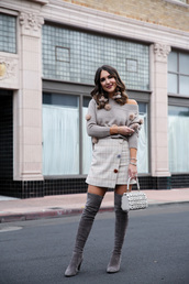 sweater,grey sweater,knitwear,knitted sweater,skirt,mini skirt,asymmetrical,asymmetrical skirt,boots,over the knee boots,grey boots,monochrome outfit,pom poms
