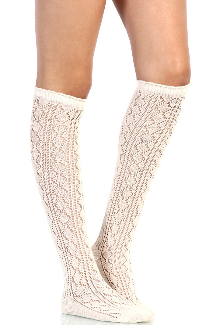Lace knee high socks
