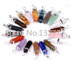 Online shop 1 pc natural rose quartz pendant,stone pendant, quartz point crystal point gem stone necklace, hexagonal point pendant 3322