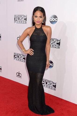 sheer maxi dress black gown prom dress american music awards christina milian