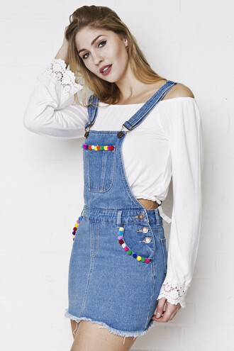 dress pom poms overalls denim dress denim