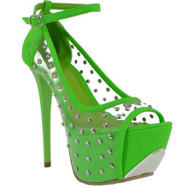 shoes shoe republic green shoes green heels mary jane heels peep toe pump stilettos apple green clear studded studded heels