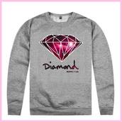 sweater,diamond supply co.,grey sweater