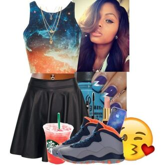 galaxy print galaxy shirt crop tops light blue leather skirt skater skirt jordans graphic tee starbucks coffee gold necklace make-up dope urban