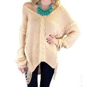 sweater,oversized sweater,beige,knitted sweater,shredded sweater,trendy