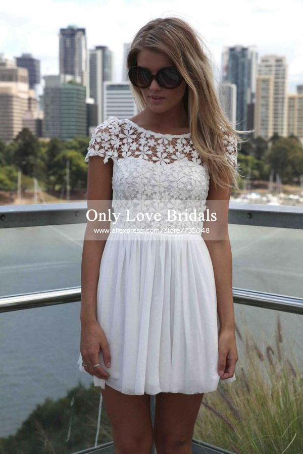 Aliexpress.com : buy cheap hot sale sheer scoop cap sleeve party gowns appliques lace ruffle chiffon short homecoming dresses vestido de formatura from reliable dress lining suppliers on only love bridals