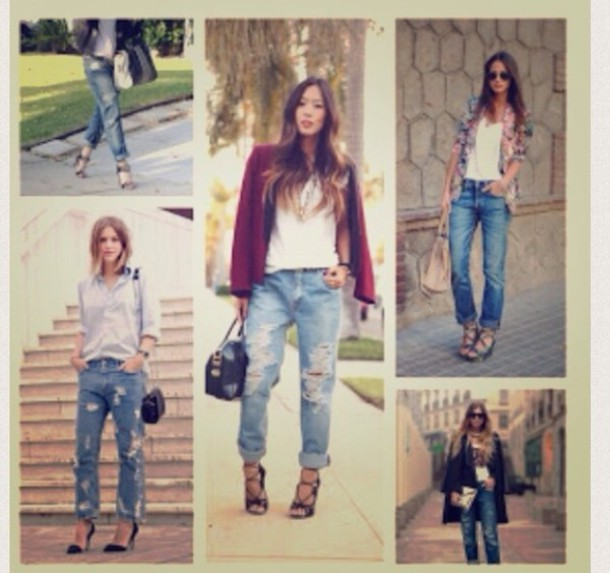 Jeans: undefined, boyfriend jeans, ripped jeans, cropped, acid ...