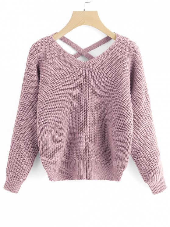 Neck Criss Cross Pullover Sweater