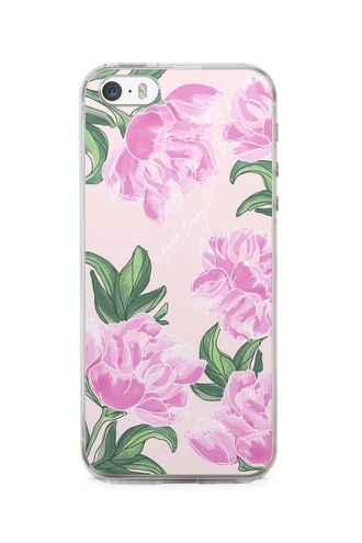 phone cover yeah bunny cover peony pink flowers flowers cute pink pastel leaves iphone cover iphone case iphone