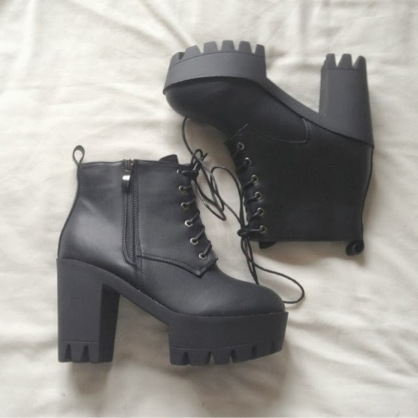 shoes boots black  high heels