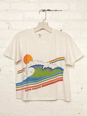 shirt free people wave sun indie boho indie boho cute rainbow hippie hippie chic art hoe kanagawa hippie shirt